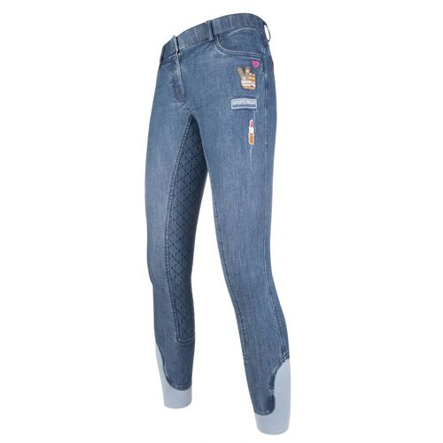 HKM Reithose Patches Denim, Silikon Vollbesatz